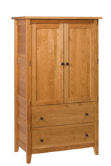 Bungalow armoire shown in Cherry/Fruitwood