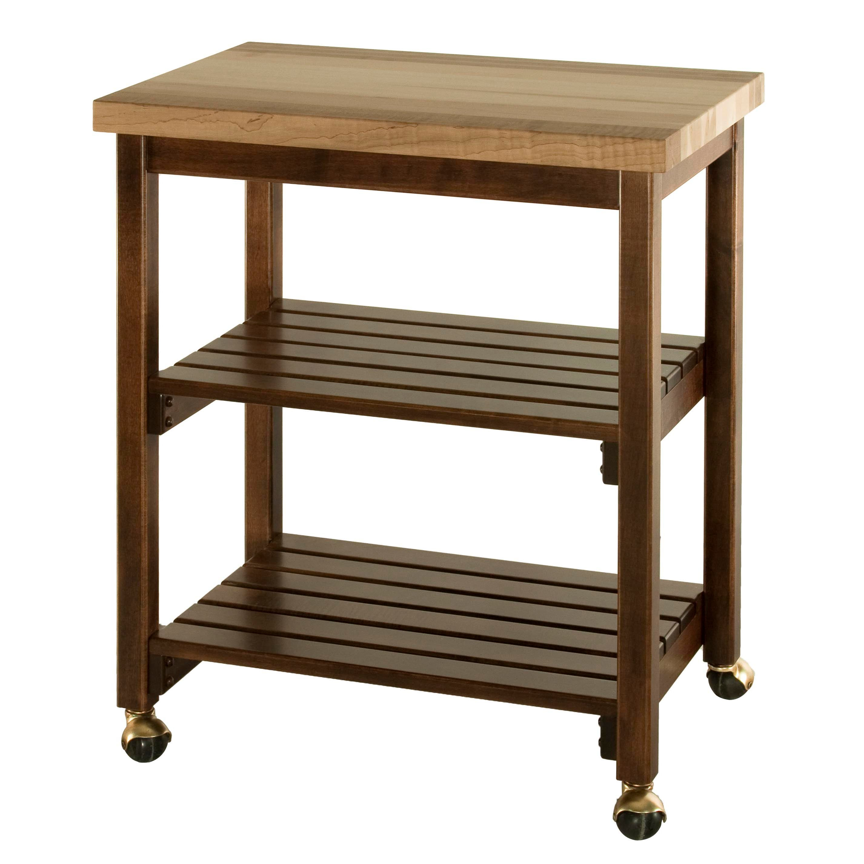 Serving cart with butcher block