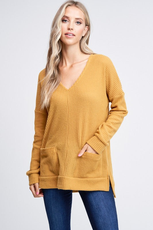 Mustard v-neck top with side pockets