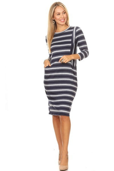 Navy striped pocket dress