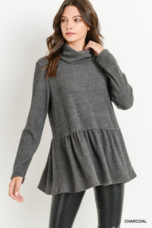 Charcoal waffle knit top with peplum hem