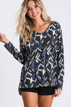 Blue geo top with side slits