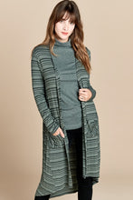 Olive stripe rib knit cardigan
