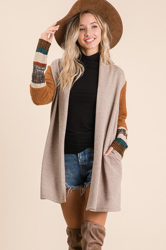 Taupe multi cardigan with contrast sleeve