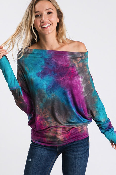 Aqua plum off shoulder tie dye top