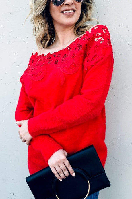 Red lace off shoulder sweater