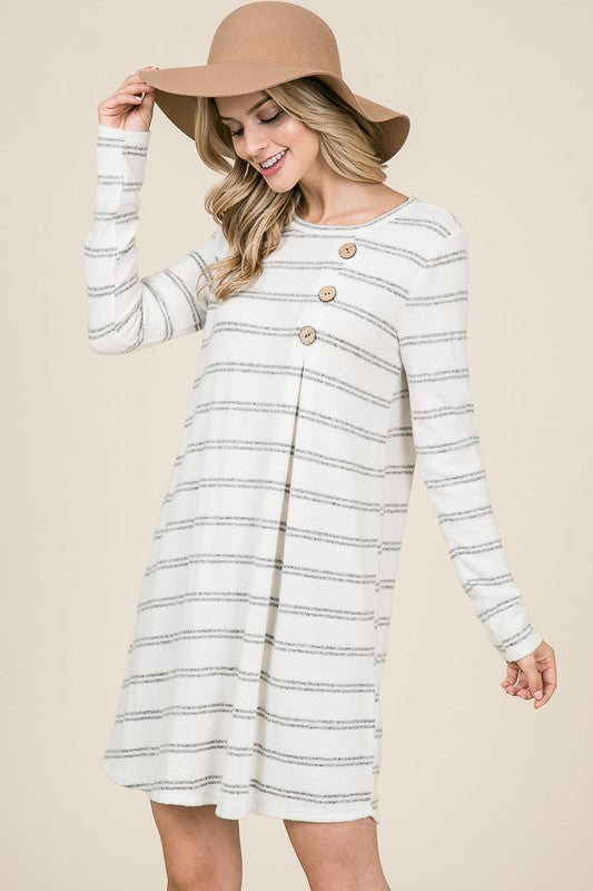 Long sleeve striped dress in ivory/black