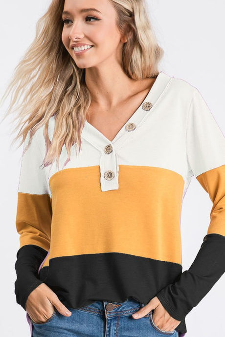 Ivory and mustard color block top