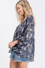 Navy paisley top