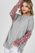Heather gray top with floral print sleeves