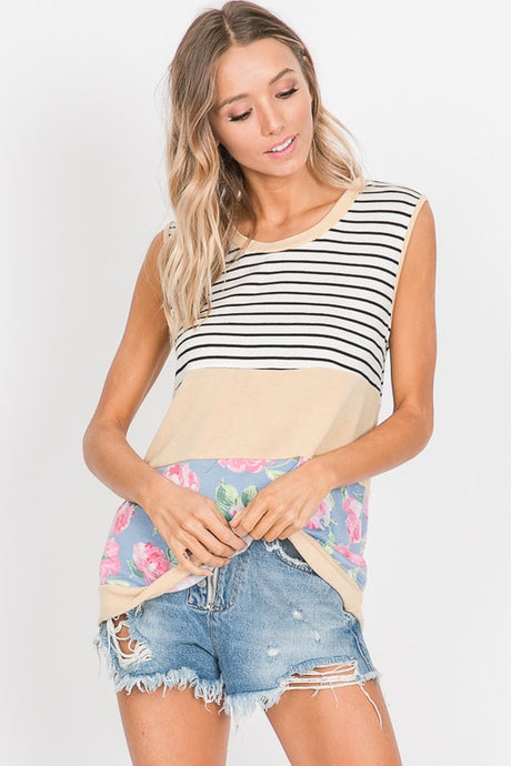 Sleeveless color block and floral top