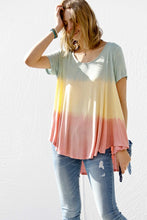 Coral mix tie dye top