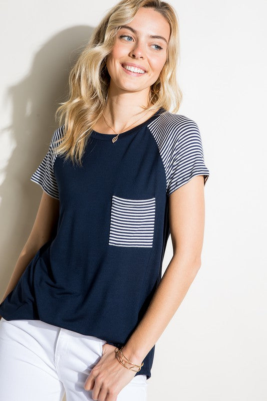 Solid and stripe top