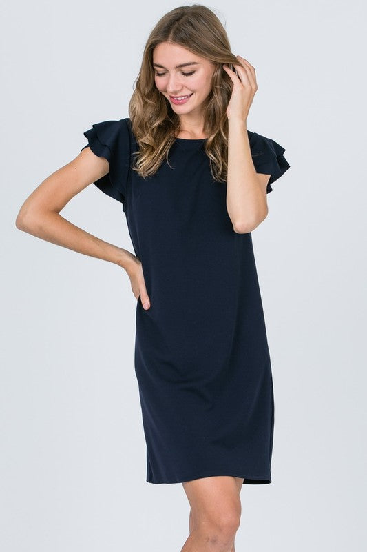 Black Ruffle Short Sleeve Dress