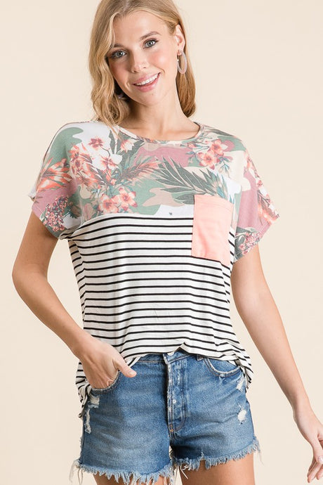 Camo/floral/stripe top