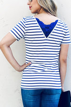 Blue and white striped short sleeve back v top