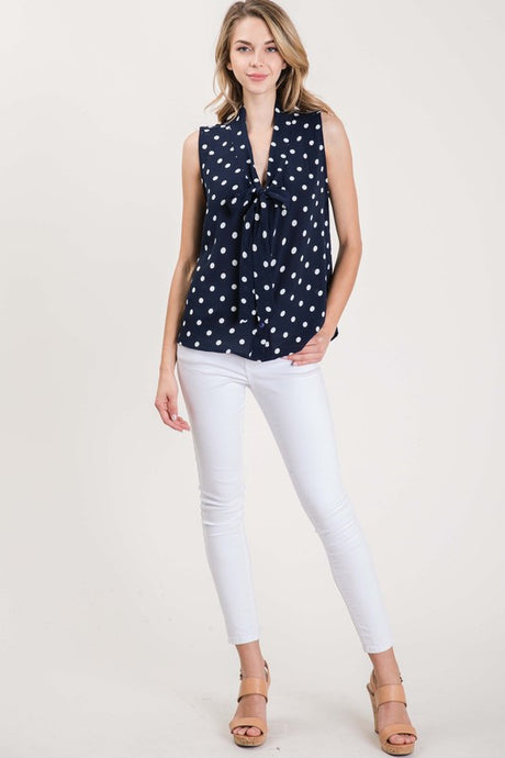 Navy/white tie neck sleeveless blouse