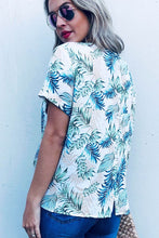 Tropical printed front tie back button down top