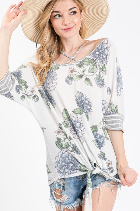 3/4 Sleeve floral and stripe top