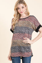 Mauve/taupe stripe top with animal print contrast