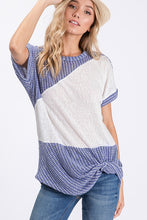 Blue and purple color block top