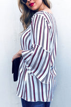 Multi stripe printed Bell Sleeve Top