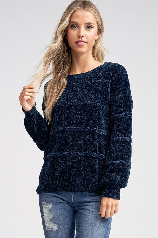 Navy chenille sweater