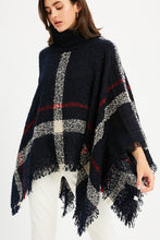 Plaid Fringed Poncho in Mocha and Navy