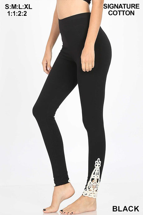 Black ankle patch leggings