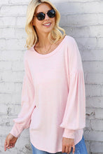 Pink knit top with balloon sleeves