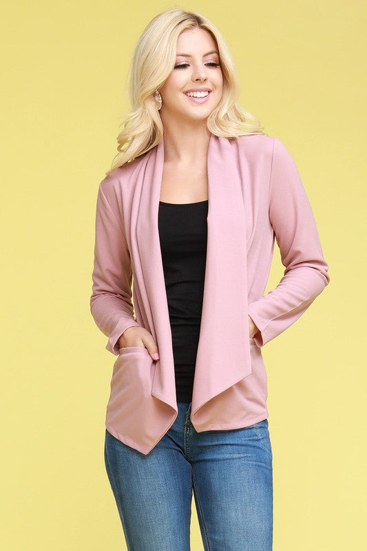 Blush blazer with open asymmetrical front