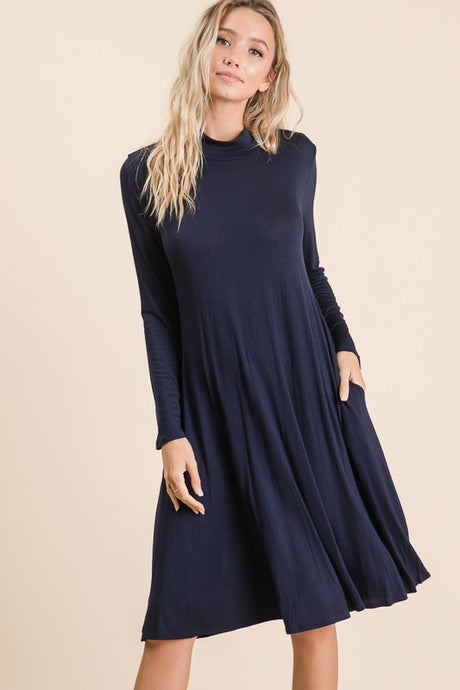 Navy high neck dress with pockets