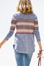 Blue Top with Multi Color Stripes