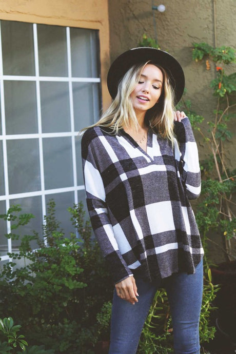 Plaid loose fit top