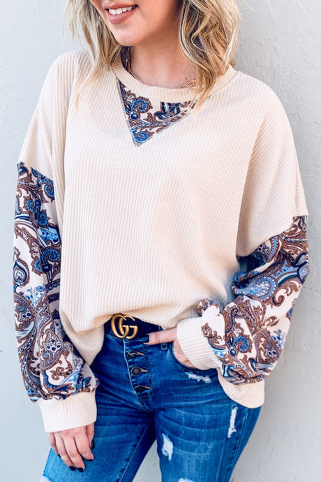 Paisley Printed detail balloon sleeve top