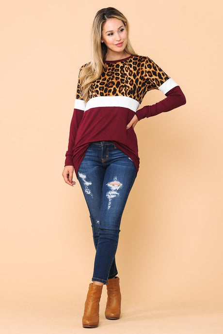 Color block in burgundy & leopard