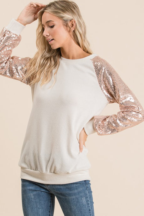 Top with sequin sleeves