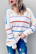 Ivory multi-striped v-neck sweater