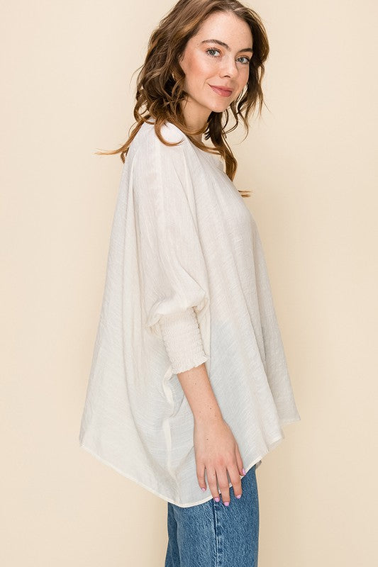 3/4 Sleeve Ivory Top with smocked sleeves