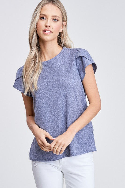 Short sleeve navy knit top with puff sleeves