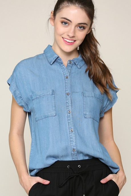 Medium wash denim short sleeve top