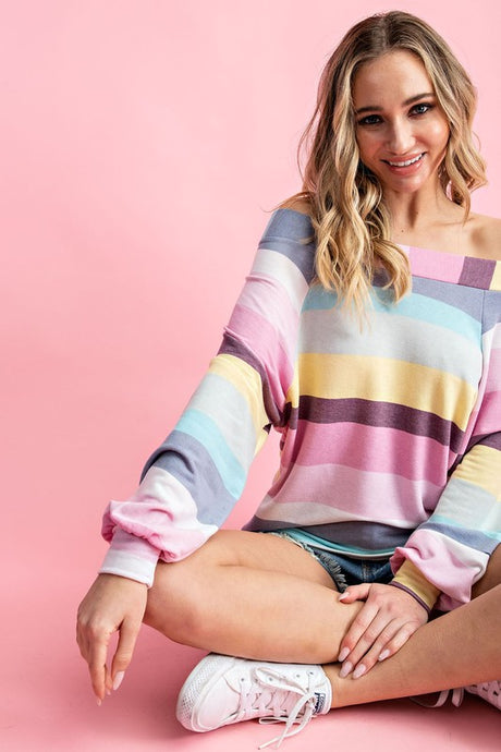 Off shoulder top with multi color stripes
