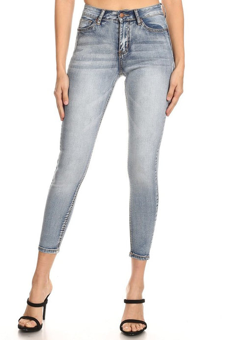 High rise light wash vintage skinny jean