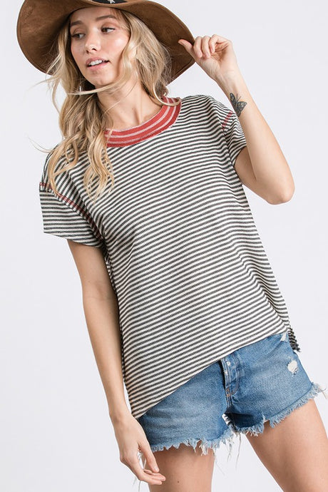 Black/Ivory stripe knit top
