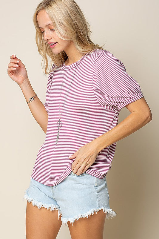 Stripe top with shirred balloon sleeves