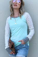 Color block top with striped sleeves
