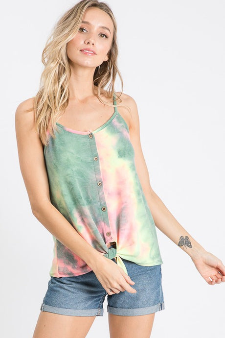 Tie Dye Button front top