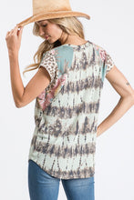 Tie dye/floral/animal print top