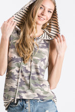 Sleeveless camo top with hood