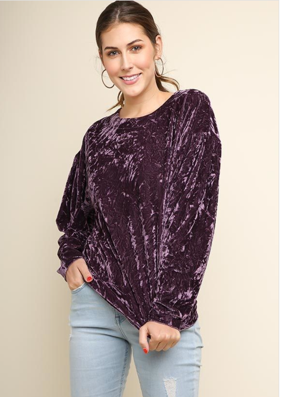 Violet Long Sleeve Crushed Velvet Round Neck Top Wild Bee Boutique